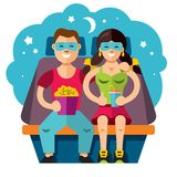 Vector Cinema couple. Flat style colorful Cartoon illustration. Man and woman watching movie in 3D glasses, eating popcorn and sitting in a chair. Isolated on a Stock Photos