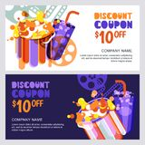 Vector cinema discount coupon or voucher template. Design elements for movie flyer, entrance ticket or banner. Popcorn and drink flat illustration Royalty Free Stock Image