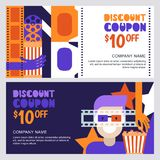 Vector cinema discount coupon or voucher template. Design elements for movie flyer, entrance ticket or banner. Man in 3d glasses and popcorn illustration Royalty Free Stock Image