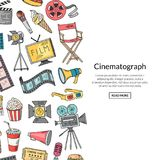 Vector cinema doodle icons. Background banner with place for text illustration Stock Images