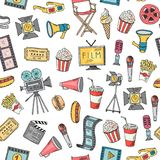 Vector cinema doodle icons background or pattern illustration. Entertainment background movie, cinematography video and clapperboard Royalty Free Stock Photos