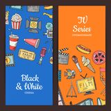 Vector cinema doodle icons illustration. Set of colored banners or poster Stock Images