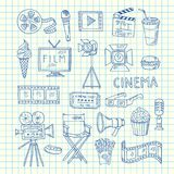 Vector cinema doodle icons. Of set on cell sheet illustration Stock Photos