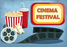 Vector cinema festival banner. Signboard with words cinema festival. Can used for banner, poster, web page, background Stock Image