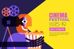 Vector cinema festival poster, flyer background. Sale tickets banner background. Movie time and entertainment concept. Vector cinema festival poster, flyer Royalty Free Stock Image