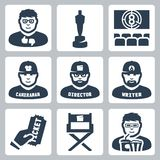 Vector cinema and filmmaking icons set. Critic, award, movie theater, cameraman, director, script writer, ticket, director chair, moviegoer Stock Photos