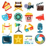 Vector cinema icon set Stock Images