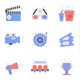 Vector cinema illustration of tickets icon in flat linear style. Vector illustration of cinema icon set in flat linear style Graphic design concept of clapper Royalty Free Stock Photos
