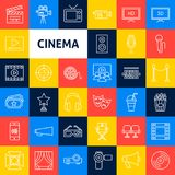 Vector Cinema Line Icons stock illustration