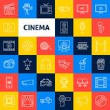 Vector Cinema Line Icons stock illustration