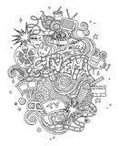 Vector Cinema, movie, film doodles hand drawn sketch.  symbols and objects with  design Royalty Free Stock Photography