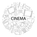 Vector Cinema pattern with word. Cinema background. Vector illustration Stock Images