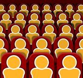 Vector Cinema Seats Rows with People, Colorful Image. stock illustration