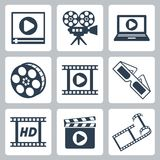 Vector cinema/video icons set Royalty Free Stock Photography