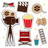 Vector cinema and watching movie icon set. Cinema patch icons entertainment video reel symbol. Film vector movie cinema patch icons design glasses set Stock Photos