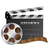 Vector cinematography objects. Vector clapper and film strip for cinematography industry Stock Image