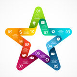 Vector circle arrows color star symbol infographic. Template for cycle diagram, graph, favourite presentation, celebrity Stock Photography