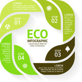 Vector circle arrows green eco infographics set. Ecology diagram, graph, presentation, leaves chart. Organic nature Royalty Free Stock Image