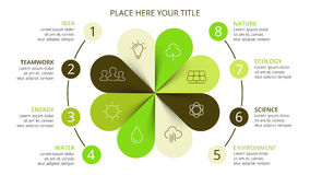 Vector circle arrows green leaves eco infographic. Ecology diagram, flower graph, presentation, chart. Organic nature Royalty Free Stock Photos