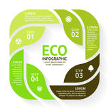 Vector circle arrows green leaves eco infographic. Ecology diagram, graph, presentation, chart. Organic nature concept Stock Images