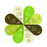 Vector circle arrows green leaves eco infographic. Ecology diagram, graph, presentation, chart. Organic nature concept. Layout for your options or steps Royalty Free Stock Photography