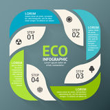 Vector circle arrows green leaves eco infographic.  Stock Photo