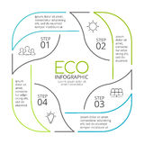 Vector circle arrows green leaves eco linear infographic. Ecology diagram, graph, presentation, chart. Organic nature Stock Photo