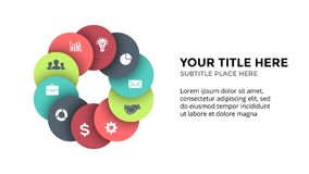 Vector circle arrows infographic, cycle diagram, geometric graph, presentation chart. Business concept with 10 options Stock Images
