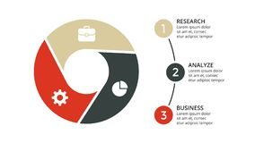 Vector circle arrows infographic, cycle diagram, geometric graph, presentation chart. Business concept with 3 options. Circle arrows diagram for graph Royalty Free Stock Image
