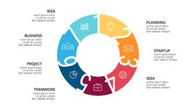Vector circle arrows infographic, cycle diagram, geometric graph, presentation  Stock Images