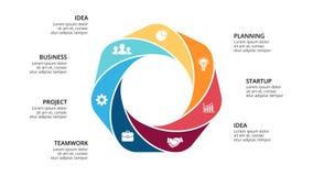 Vector circle arrows infographic, cycle diagram, geometric graph, presentation Stock Photos