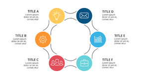 Vector circle arrows infographic, cycle diagram, graph, presentation chart. Business concept with 6 options, parts Royalty Free Stock Image
