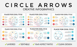 Vector circle arrows infographic, cycle diagram or graph, 16x9 slide presentation pie chart. Business linear template Stock Photography