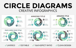 Vector circle arrows infographic, cycle diagram, graph, 16x9 slide presentation pie chart. Business concept template Royalty Free Stock Photo