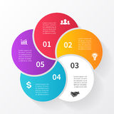 Vector circle arrows infographic, diagram, graph, presentation, chart. Business cycle concept with 5 options, parts Stock Photo