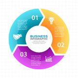 Vector circle arrows infographic, diagram, graph, presentation, chart. Business cycle concept with 3 options, parts Stock Photos