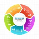 Vector circle arrows infographic, diagram, graph, presentation, chart. Business cycle concept with 5 options, parts Stock Image