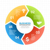 Vector circle arrows infographic, diagram, graph, presentation, chart. Business cycle concept with 4 options, parts Royalty Free Stock Photos