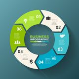 Vector circle 6 arrows for infographic, diagram. Royalty Free Stock Images