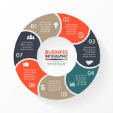 Vector circle 7 arrows for infographic, diagram. Royalty Free Stock Photography