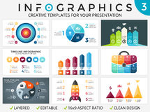 Vector circle arrows infographic set, cycle diagrams, start up graph, presentation pie chart. Stock Images