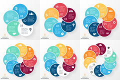 Vector circle arrows infographics set, cycle diagram, graph, presentation chart. Business concept with 5, 6, 7, 8, 9, 10 Stock Photo