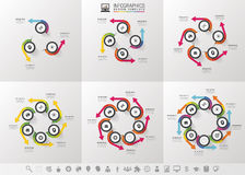Vector circle arrows infographics set. Template for cycle diagram, graph, presentation and round chart Royalty Free Stock Images