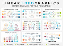 Vector circle arrows linear infographic, cycle diagram, graph, presentation chart. Business concept with 3, 4, 5, 6, 7. Circle arrows diagram for graph Stock Photo