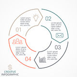 Vector circle arrows linear infographic, diagram, graph, presentation, chart. Business cycle concept with 4 options Royalty Free Stock Images