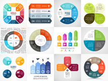 Vector circle arrows stripe infographics set Royalty Free Stock Image