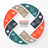 Vector circle arrows X infographic, diagram, graph, presentation, chart. Business cycle concept with 8 options, parts Stock Photo
