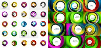 Vector circle backgrounds, swirl backgrounds template. Mega collection of vector abstract backgrounds Stock Image
