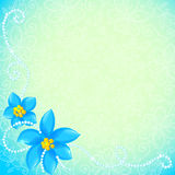 Vector circle of blue flowers greeting card Royalty Free Stock Photo
