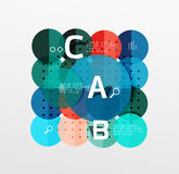 Vector circle bubbles modern geometric background. With option letter design. Vector template background for workflow layout, diagram, number options or web Royalty Free Stock Photography